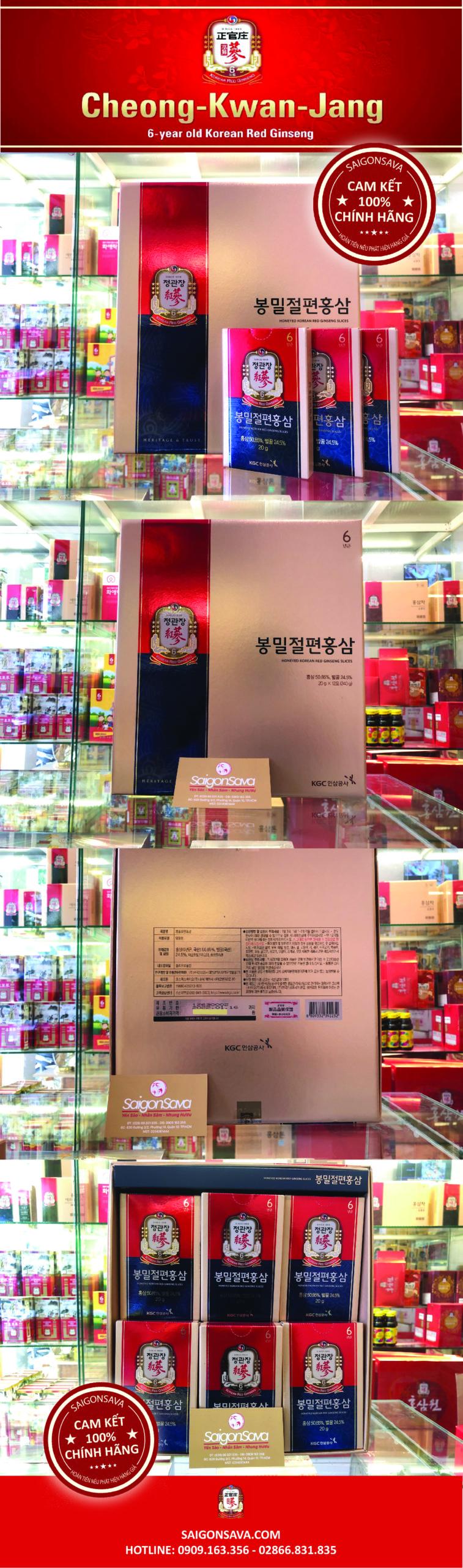 hồng sâm tẩm mật ong xắt lát kgc 240g