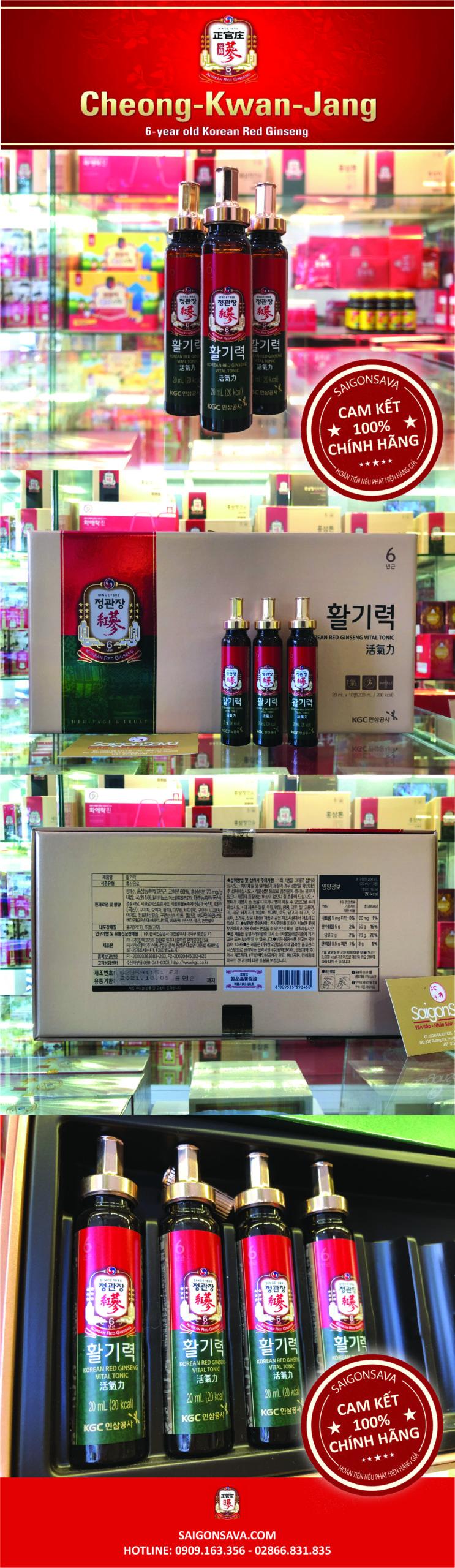 nước hồng sâm vital tonic 10 ống kgc