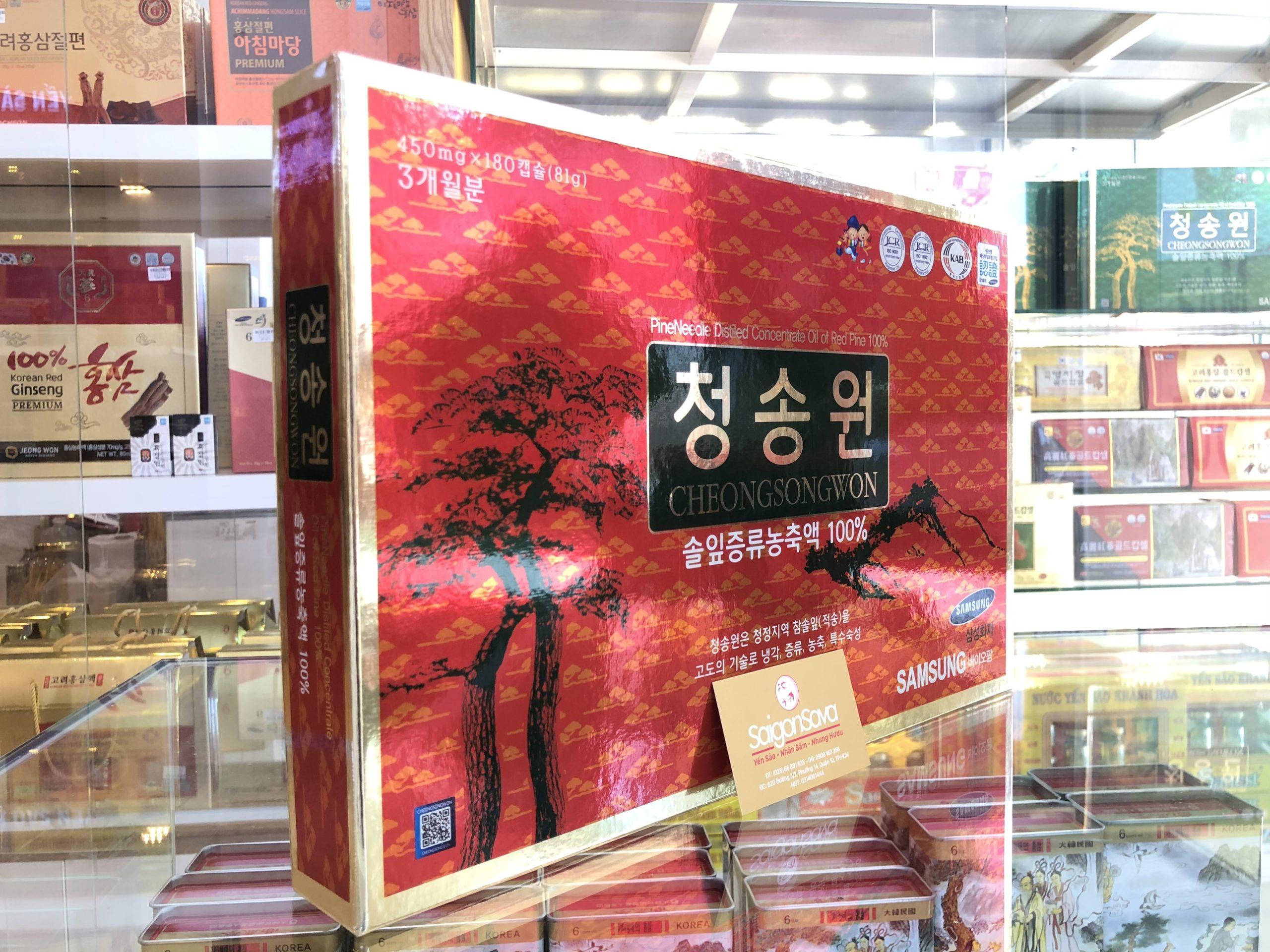 tinh dầu thông đỏ cao cấp hàn quốc cheongsongwon 180 viên hộp đỏ