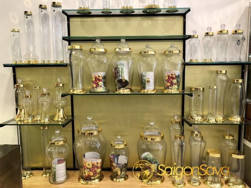 bình ngâm rượu thủy tinh Hàn Quốc nhập khẩu, thủy tinh trong suốt thời gian dài không mờ như các bình thủy tinh khác. Màu vàng rất khó phai