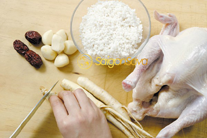 Các nguyên liệu nấu gà hầm nhân sâm