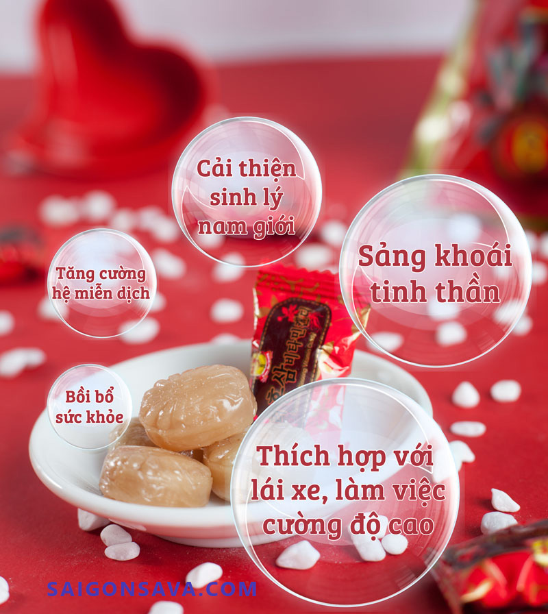 Lợi ích của việc sử dụng kẹo sâm Hàn Quốc