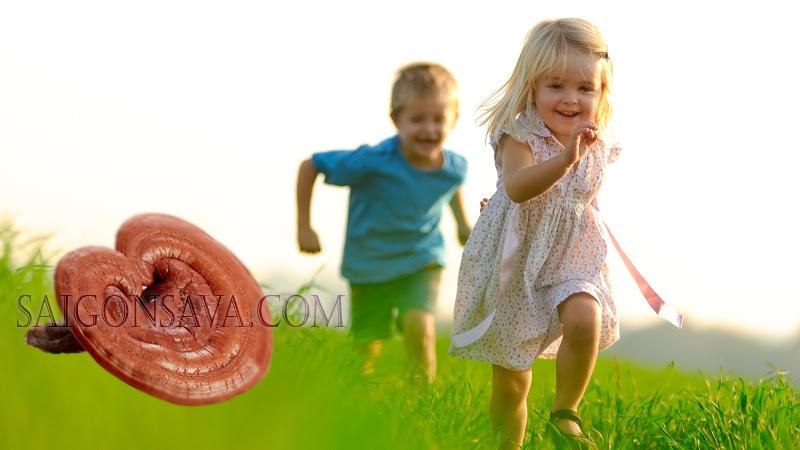 Trẻ em uống nấm linh chi giúp tăng cường hệ miễn dịch khỏi các tác nhân môi trường