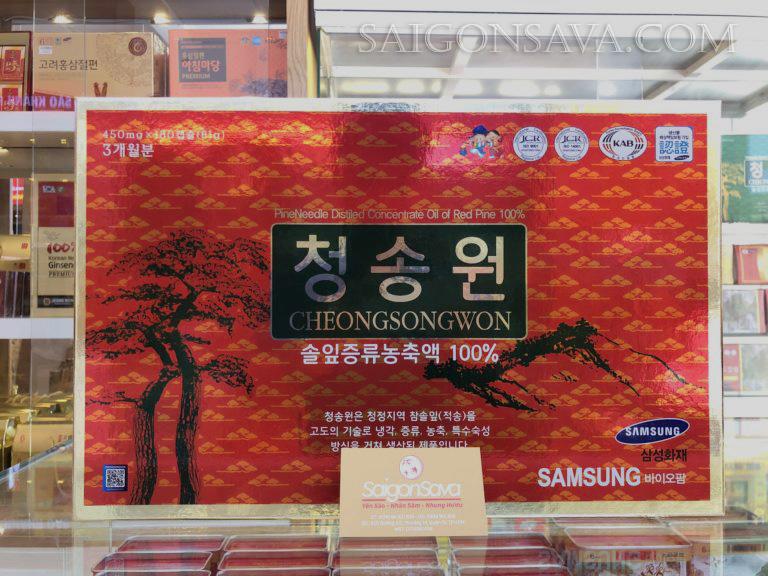 Tinh Dầu Thông Đỏ Cao Cấp CheongSongWon SamSung 180 viên hộp đỏ